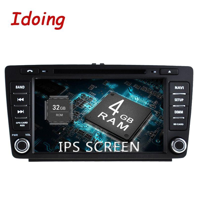 Idoing Android8.0 4G+32G 8Core 2Din IPS Screen Steering-Wheel For Skoda Octavia2 Car Multimedia DVD Player Fast Boot GPS+Glonass