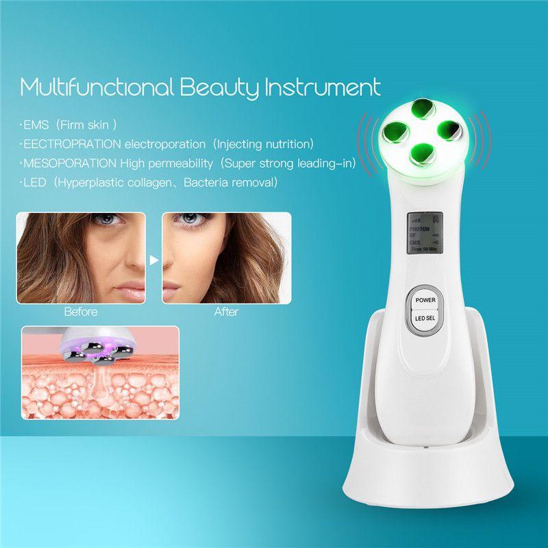 5 couleurs LED Photon rajeunissement de la peau RF appareil de beauté Machine enlever l'acné rides peau serrer blanchiment raffermissant Lifting du visage