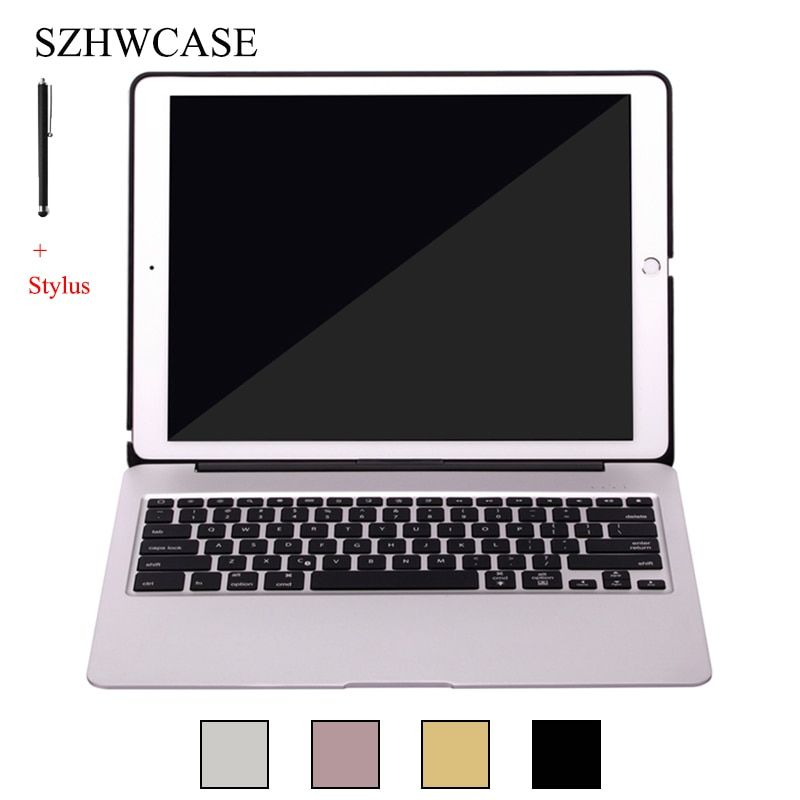 For iPad Pro 12.9 Wireless Bluetooth Keyboard Case For iPad Pro 12.9 Funda Colorful backlight Aluminum Alloy Stand Cover+Stylus