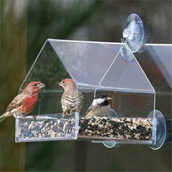 Perroquet Perruche Canaries Volière Transparent Fenêtre En Plein Air Mangeoire Pour Oiseaux Récipient D'alimentation Pour L'alimentation Pigeon Fournitures Pour Animaux de compagnie
