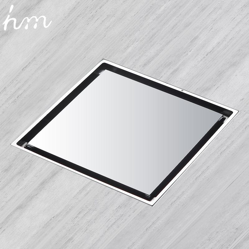 Hm Drain de sol en laiton carré douche égouttoir grille déchets carrelage Insert carré plancher déchets grilles salle de bains Drain tamis