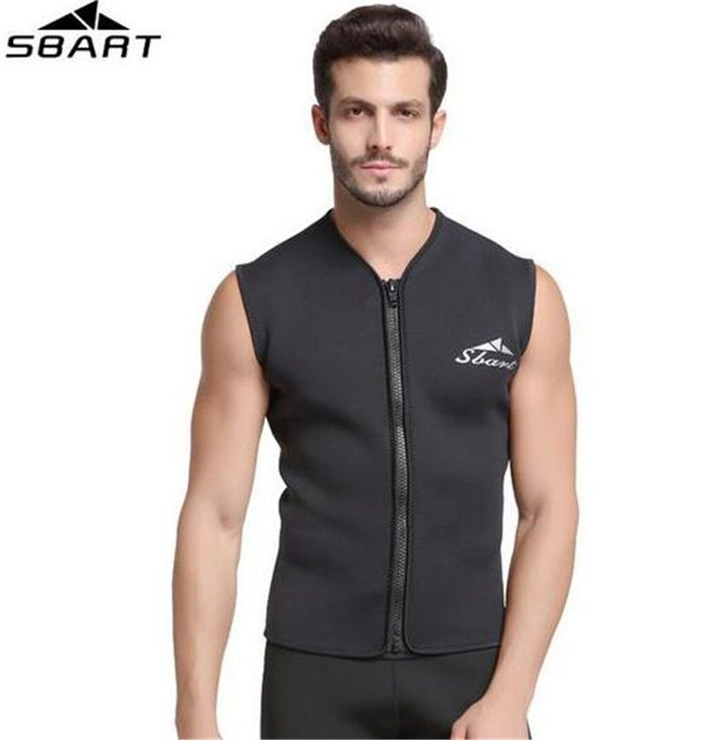 SBART 5MM Neoprene Wetsuit Vest Jacket Sleeveless Full Zipper Sunscreen Warm Wetsuits Top Mens For Cold Water Diving Surfing
