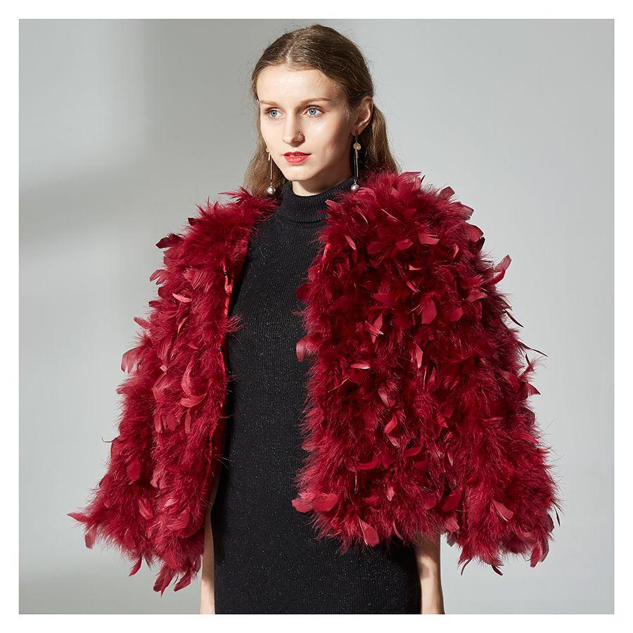 Knitted Genuine Ostrich Fur Coat 100% Fluffy Feather Fever Fur Jackets Handmade Women Natural Ostrich Fur Jacket