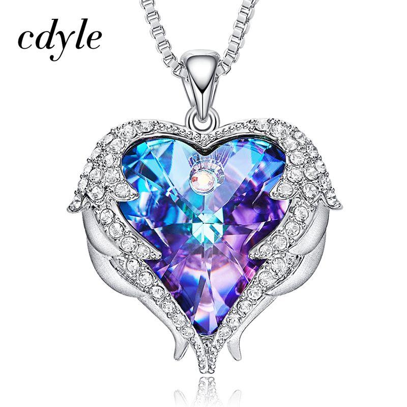 Cdyle Crystals from Swarovski Necklaces Women Pendants Heart Shaped Blue Purple Fashion Jewelry Austrian Rhinestone Vintage Male