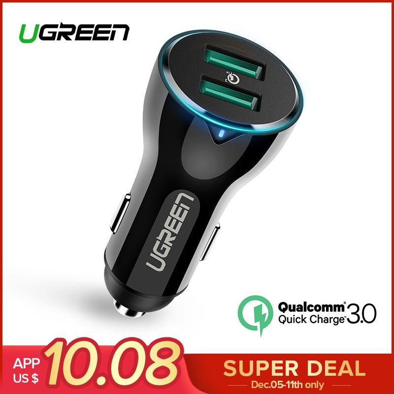 Ugreen 36 Вт Dual USB быстрая зарядка QC 3,0 Автомобильное зарядное устройство для iPhone samsung huawei Быстрая зарядка мобильный телефон быстрое зарядное уст...
