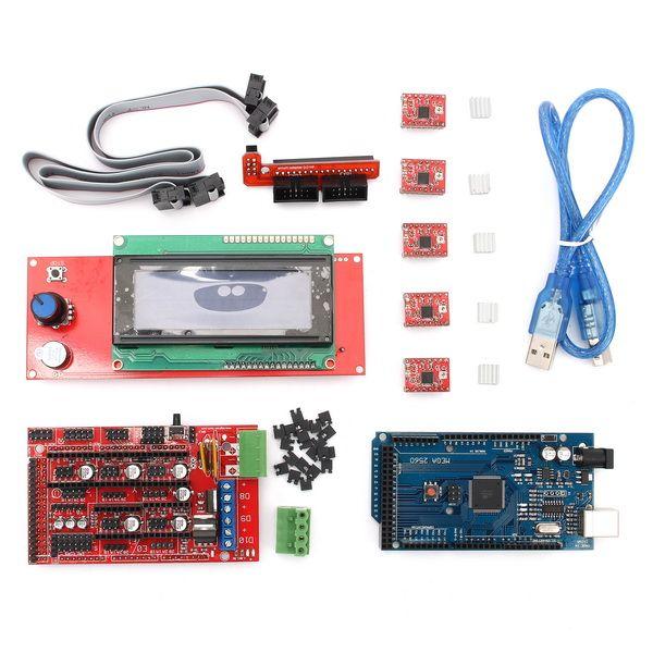 1pc3D Printer Controller RAMPS 1.4 Board + 5pcs Stepper Motor Driver Module+Smart Display Controller+ USB Cable