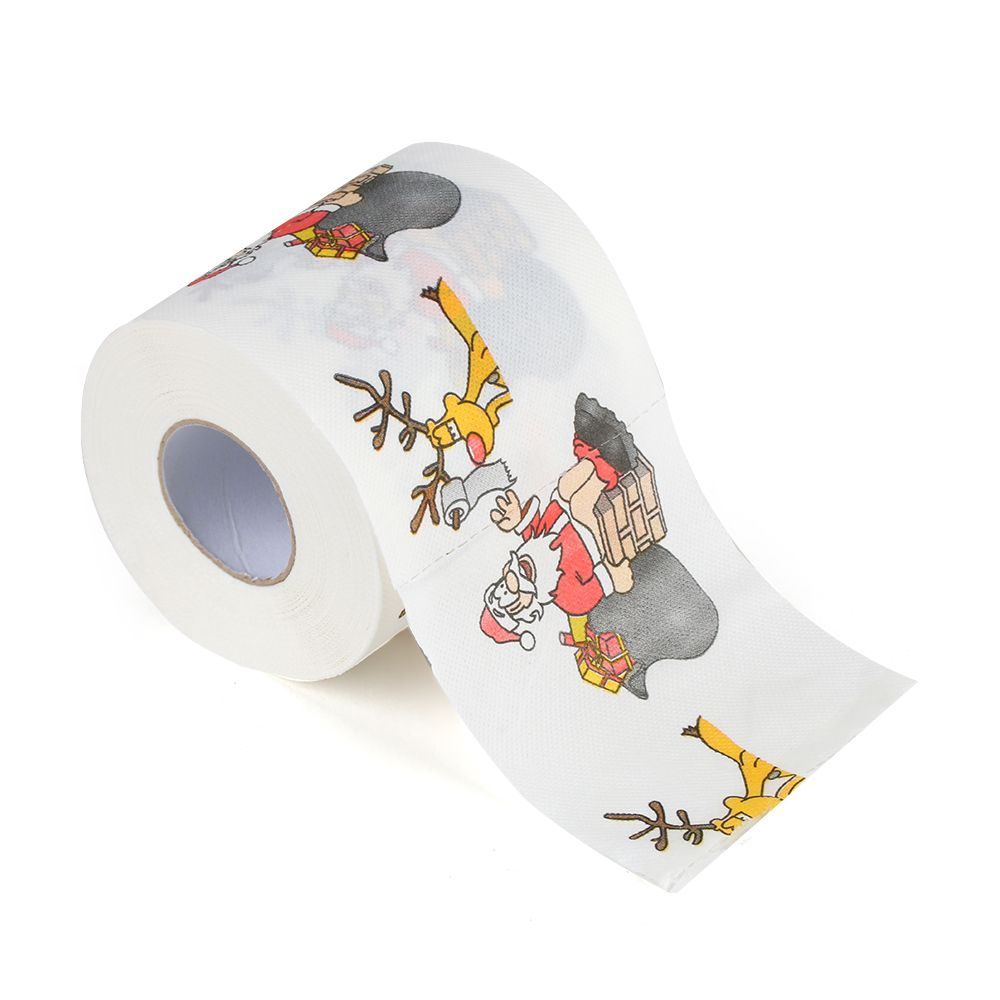 30m/pack Santa Claus and Deer Merry Christmas Printed Toilet Paper Home Bath Living Room Toilet Paper Tissue Roll Xmas Decor