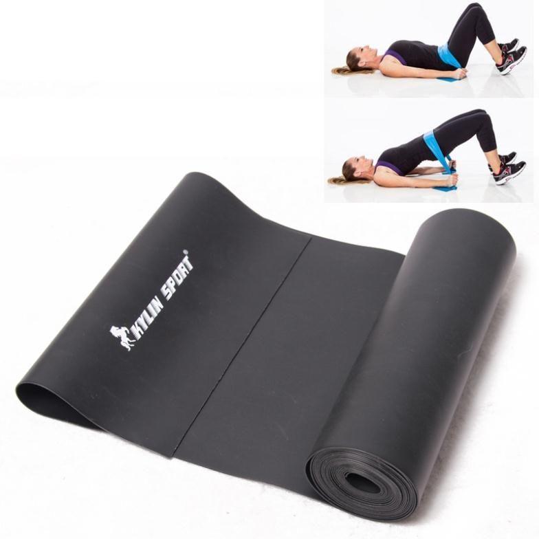 2 m Yoga caoutchouc Pilates étirement résistance exercice Fitness bande entraînement noir pour vente en gros et kylin sport