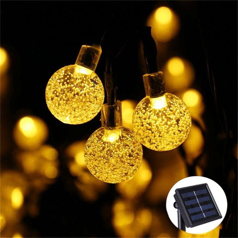 Nouveau 50 LED S 10 M boule de cristal lampe solaire puissance LED chaîne fée lumières guirlandes solaires décor de noël pour extérieur blanc chaud