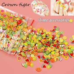 Soft pottery 1000pcs Fruit slices Filler For Nails Art Tips Slime Fruit For Kids Lizun DIY slime Accessories Supplies Decoration