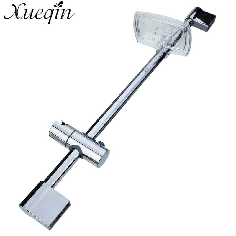 Xueqin Stainless Steel Shower Rod With Soap Dish Lifter Stainless Steel Pipe ABS Lifting Frame Adjustable Head Holder