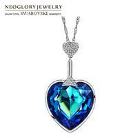 Neoglory Austria cristal y Auden rhinestone largo collar pendiente del encanto del estilo del corazón del amor para el Partido colorido señora regalo romántico