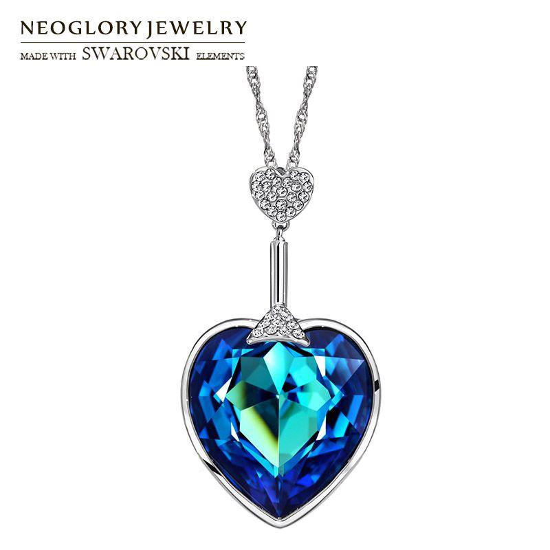 Neoglory Cristal de L'autriche et Auden Strass Long Charm Pendentif Collier Coeur D'amour Style Pour la Partie Colorée Dame Romantique Cadeau