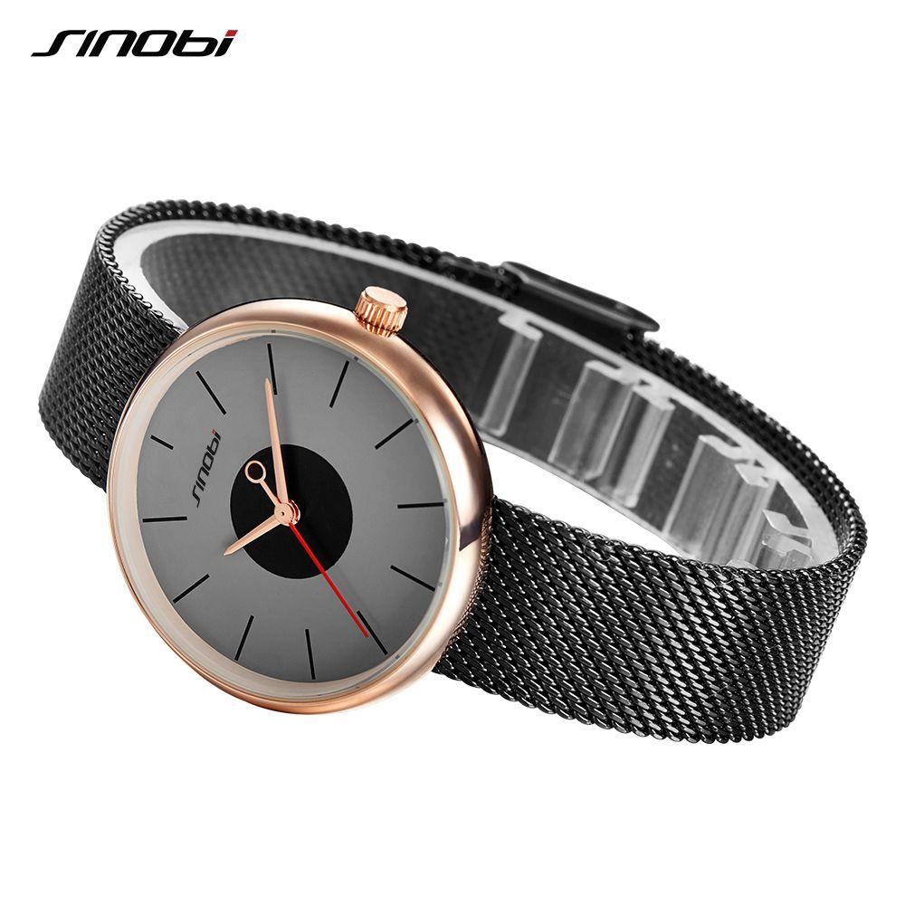 Sinobi marca de lujo mujeres relojes casual negro cuarzo relojes estilo simple del acero inoxidable Relojes