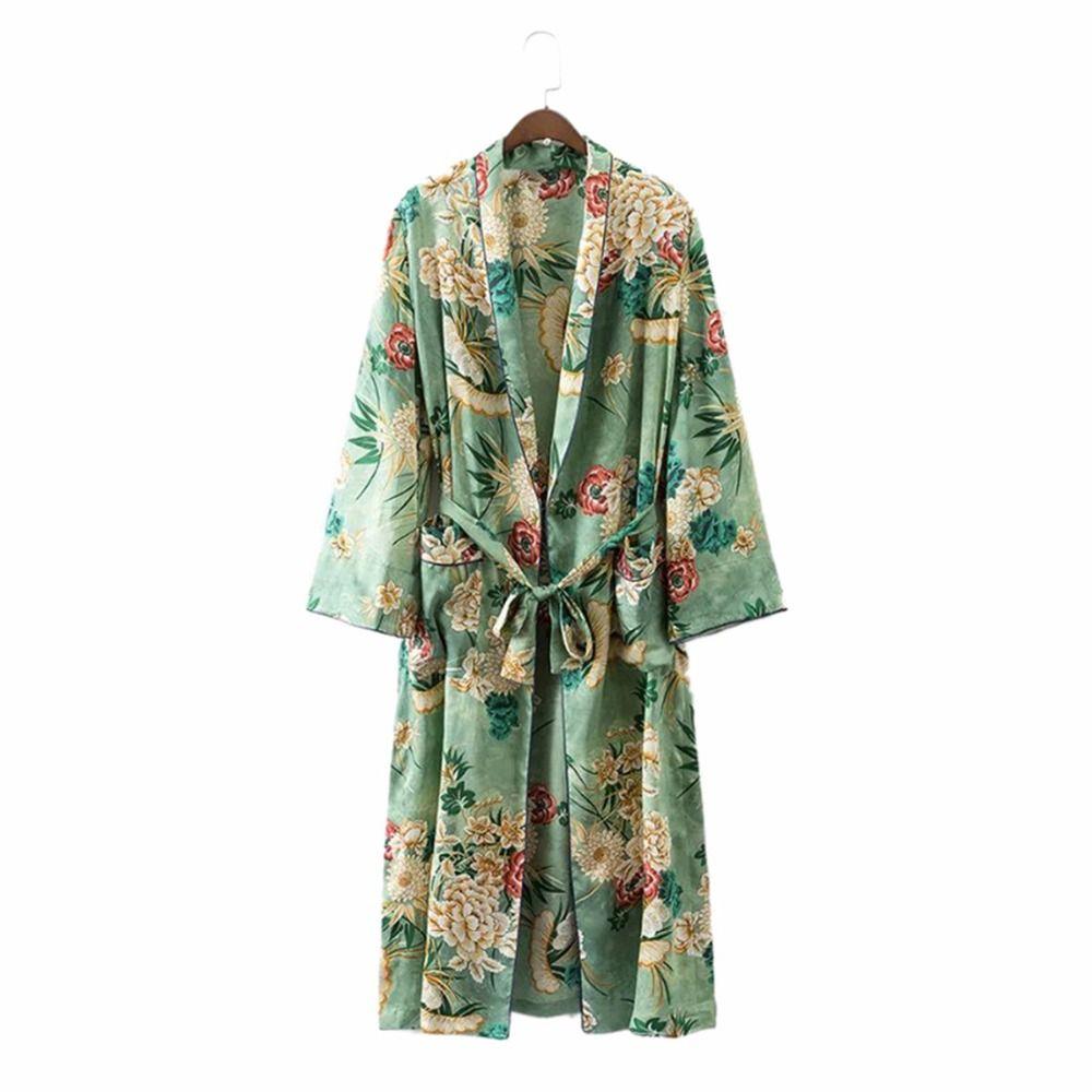 Kimono sexy robe Cardigan Femmes Mode Vert Imprimé Floral ceintures Costumes Plage Longue Blouse chemises Japonais chinois boho kimono