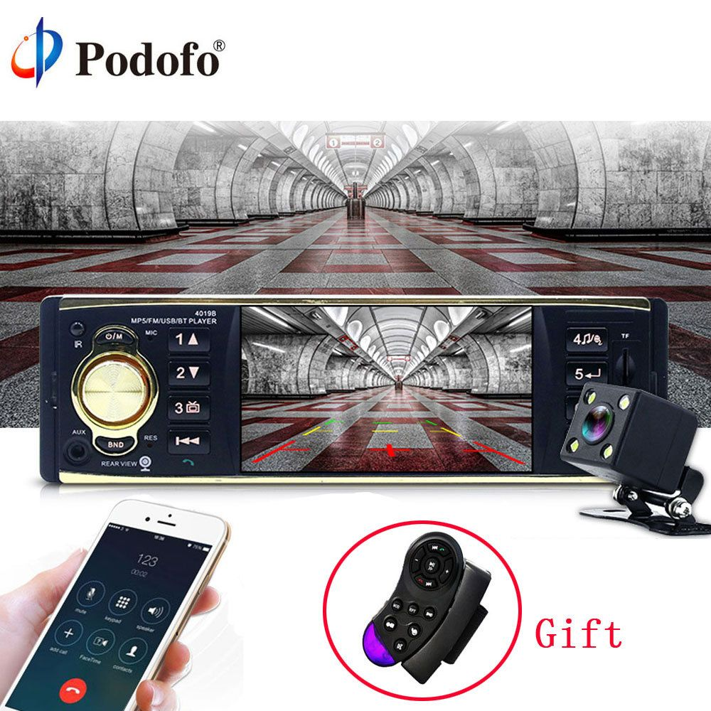 Podofo 4'' Car Radio Audio Stereo TFT Screen 1 Din MP3 Car Audio Player Bluetooth With Rearview Camera Remote Control USB FM