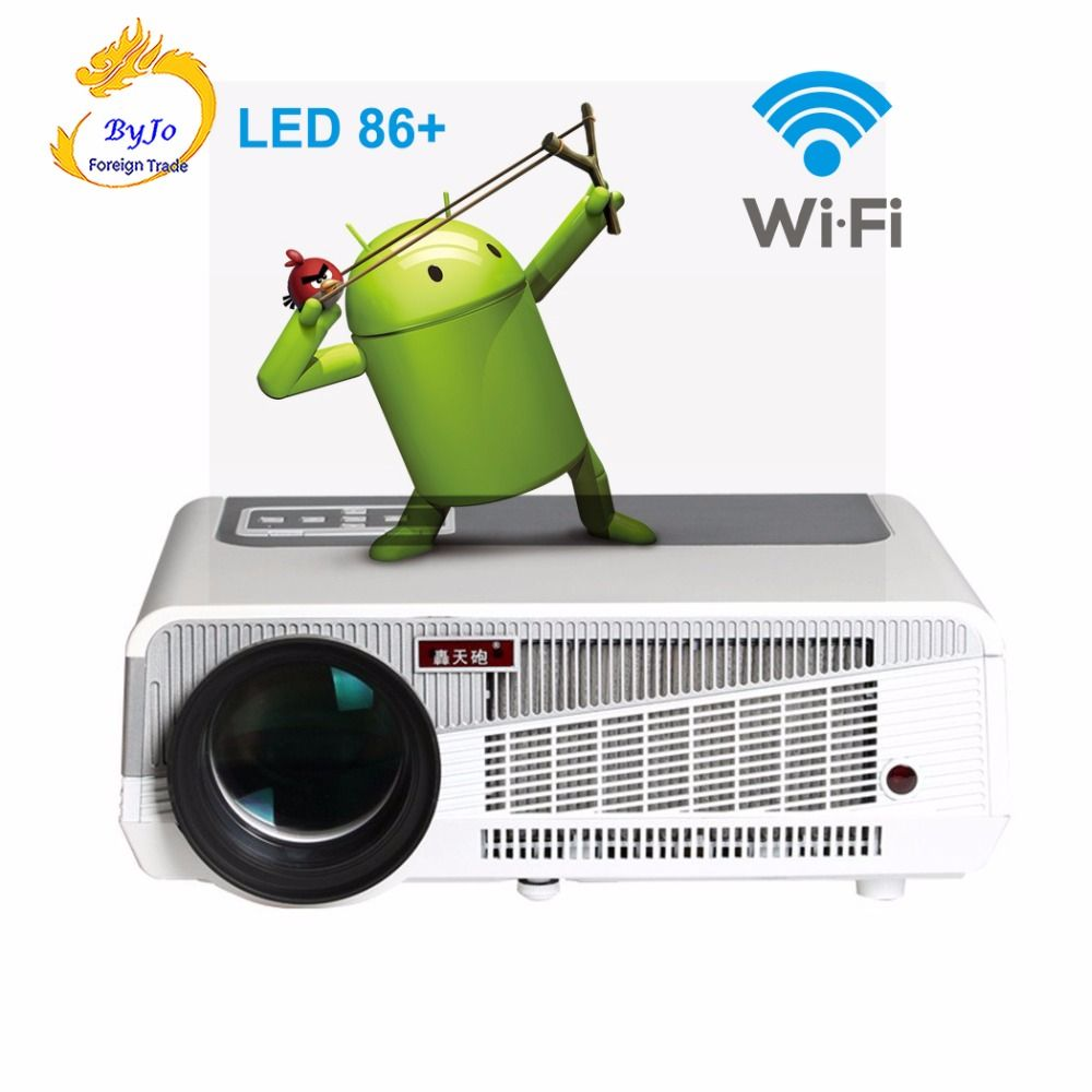 LED86+ wifi 5500 lumens protector 1080p HDMI Video Multi screen led projector Android 4.4.2 HD LED 3D Smart Projector