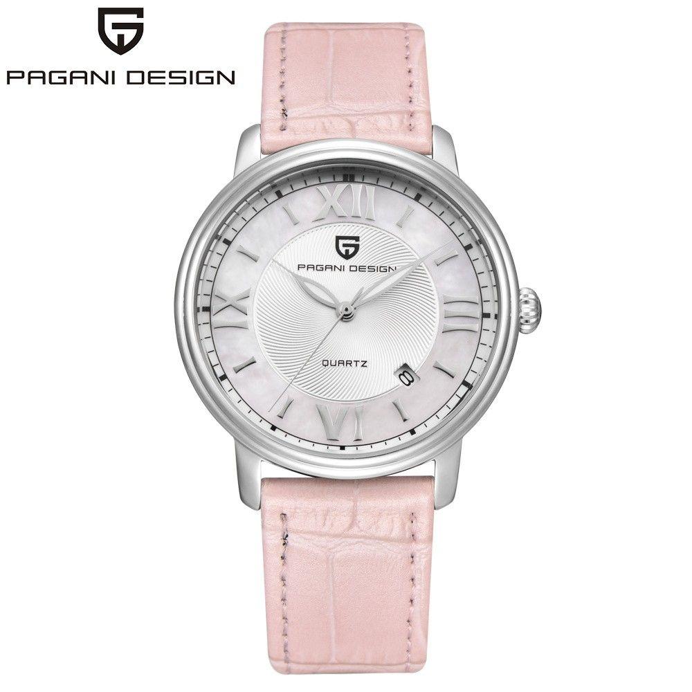PAGANI DESIGN Fashion Casual Frauen Quarzuhr Automatische Datum Rosa Elegante Fall Leder Wasserdichte Dame Uhr Relogio Feminino