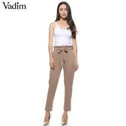 Femmes OL mousseline de soie taille haute harem pantalon arc cravate cordon doux taille élastique poches casual pantalon pantalones ZC047