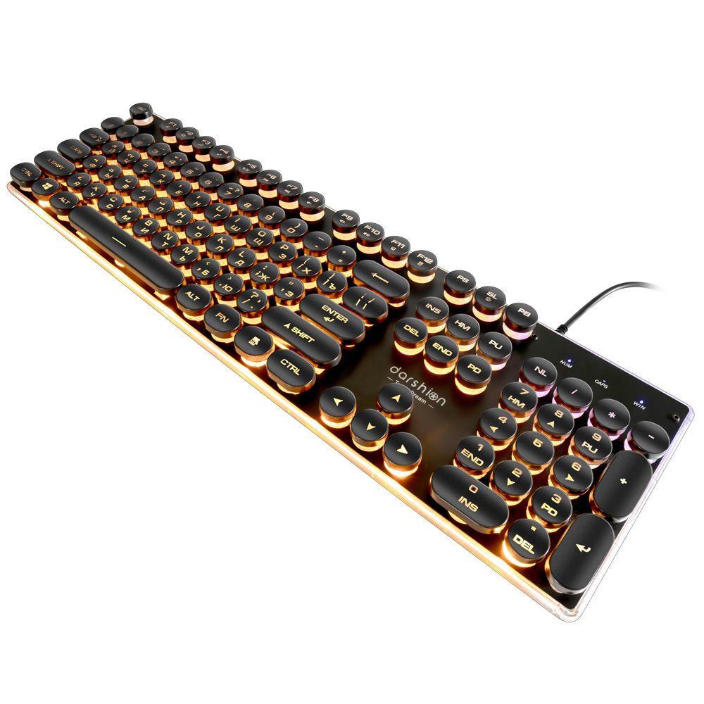 Steampunk Rétro Gaming Clavier Russe/Anglais Disposition Rond Keycap Rétro-Éclairé USB Filaire Métal Incandescent Panneau Cristal Frontière