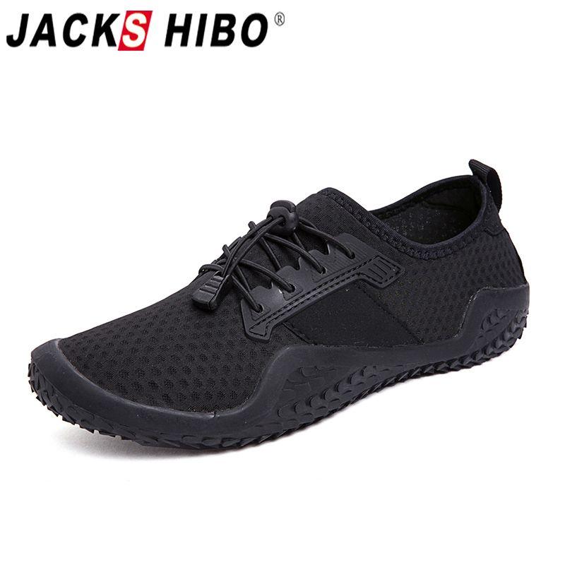 JACKSHIBO chaussures d'eau baskets pour hommes hommes Sport de plein air chaussures de natation de plage respirant pieds nus baskets Aqua chaussures en amont