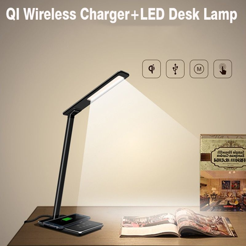 2 in 1 Touch LED Desk Lamp Table Lamp +QI Wireless Charger for iPhone X Samsung Galaxy Note 8 S8 S8+ Plus All Qi Enable Devices