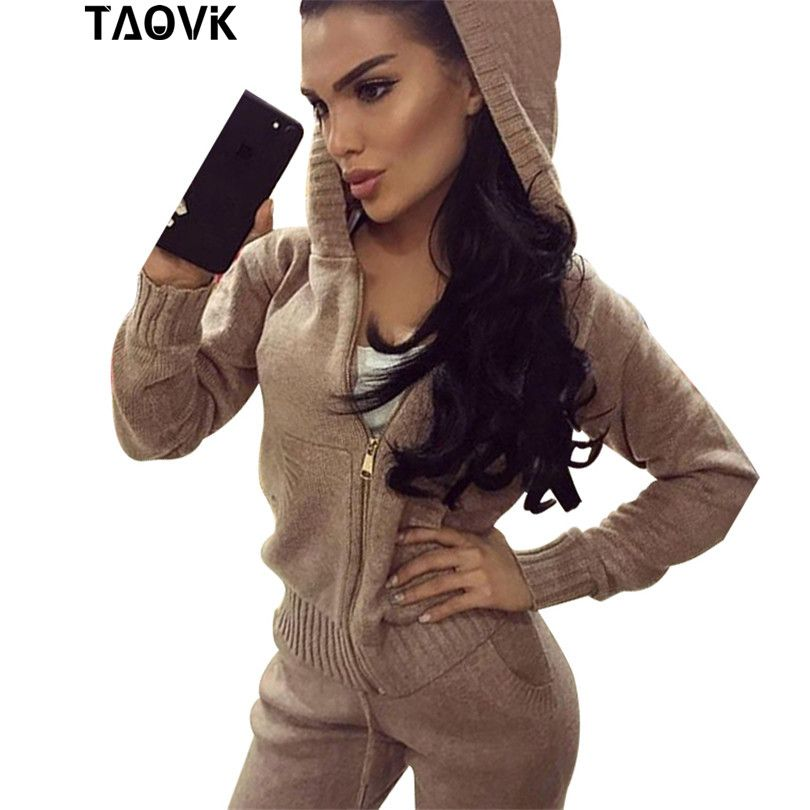 TAOVK 2 sets o-neck hoodied sweater sportswear casual tops with ruffled cuff, pocket and zipper knittedwear knitting tracksuits