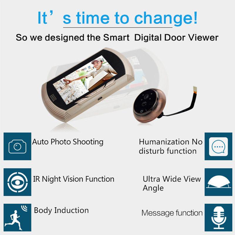 Danmini Door Intercom Digital Door Camera Wired Video Intercom Viewer Doorbell PIR HD Door Peephole Camera Home Security