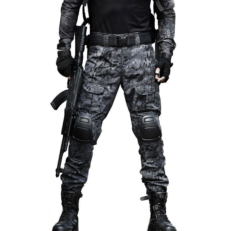 Pantalon tactique pantalon Cargo hommes genouillère militaire SWAT armée Airsoft Camouflage vêtements chasseur travail de terrain pantalon de Combat boisé
