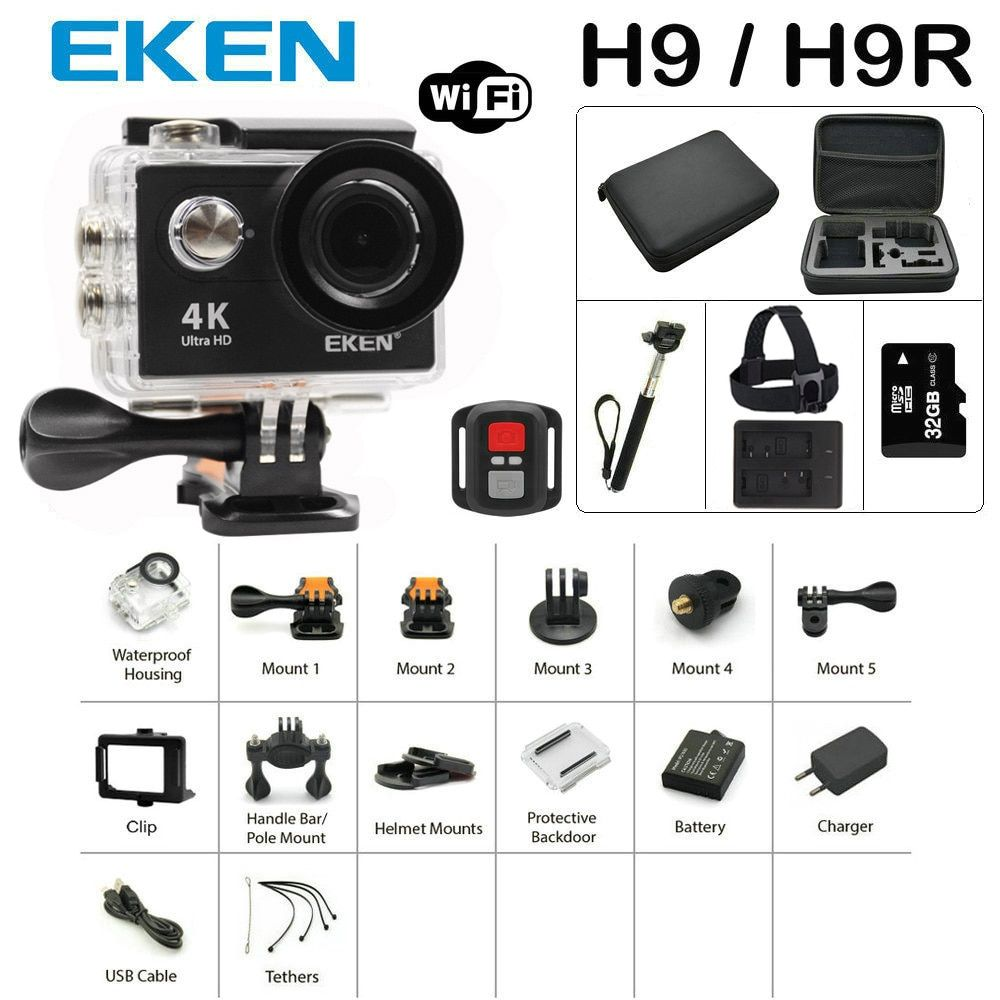 New Arrival Bundle Action Camera 100% Original Eken H9/H9R Ultra HD 4K 30M sport 2.0' Screen <font><b>1080p</b></font> FHD go waterproof pro camera