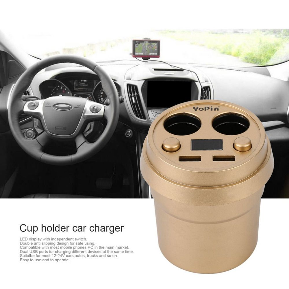Dual USB 2.4A DC12-24V Car Cigarette Lighter Splitter Output Cup Car Charger Car Adapter For Mobile Phones Tablets Drop Shipping