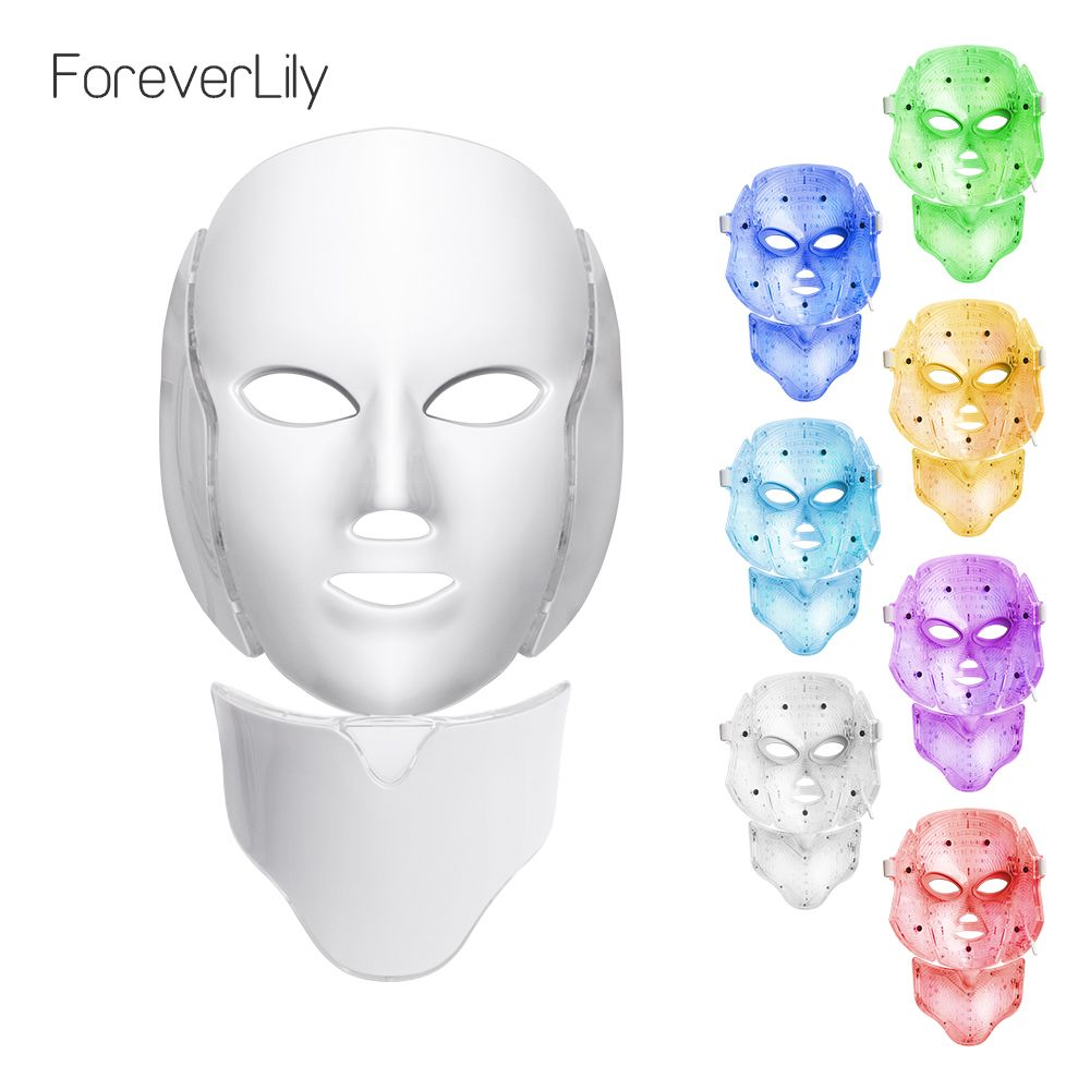 Foreverlily LED Light Photon Therapy Mask 7 Color Light Treatment Skin Rejuvenation Whitening Facial Beauty Daily Skin <font><b>Care</b></font> Mask