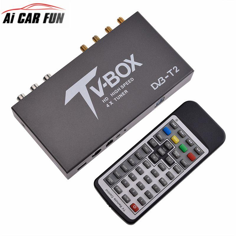 160-200km/h 4 Antenna DVB T2 Car 4 Mobility Chip Digital Car TV Tuner HD 1080P DVB-T2 Car TV Receiver