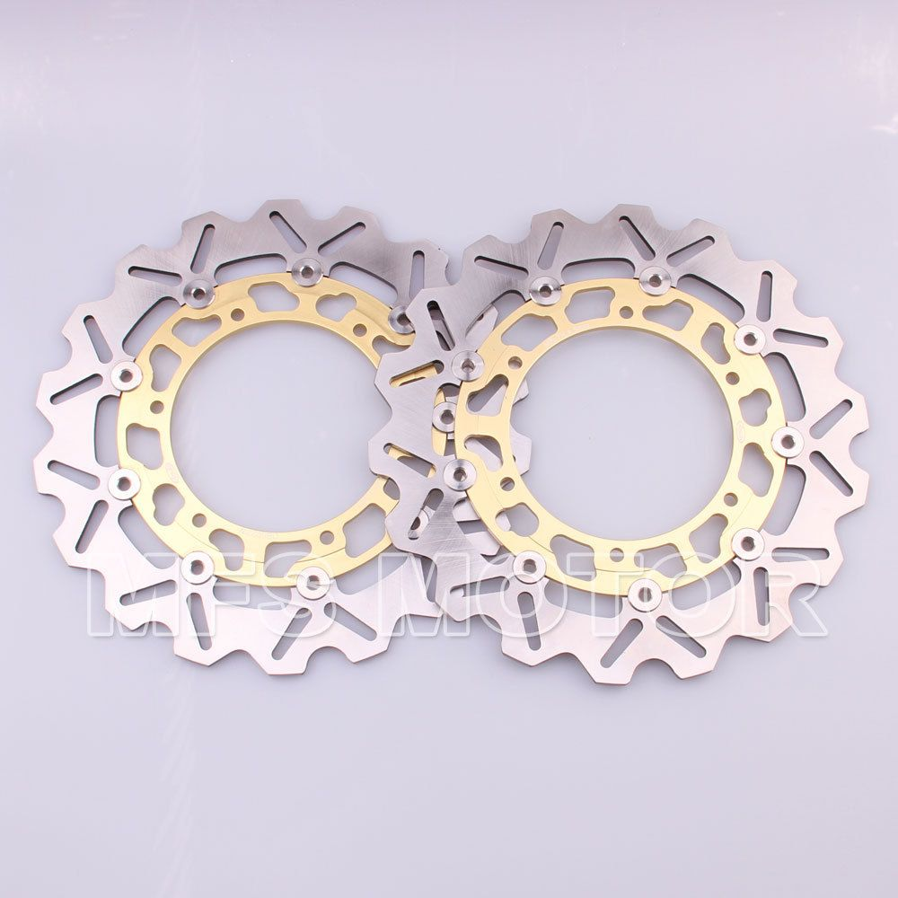 Front Brake Discs Rotor For Yamaha YZFR1 1998 1999 2000 2001 YZFR6 1998 1999 2000 2001 2002 YZF R6 98 99 00 01 02 Gold