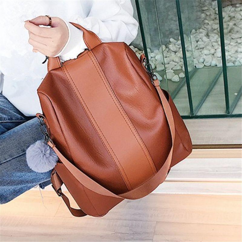 Nouveau décontracté PU femmes Anti-vol sac à dos 2019 haute qualité Vintage sacs à dos femme plus grande capacité voyage sac à bandoulière