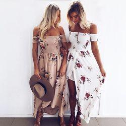 En mousseline de soie longue robe 2018 Femmes Off Épaule longueur de plancher robes robes Sexy blanc split plage d'été robe Boho Style