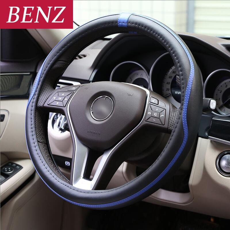 38CM Car Styling Steering Wheel Cover For Mercedes Benz A C E Class GLE GLA W164 W219 W209 W230 W203 W211 W204 SLK CLK SLR AMG