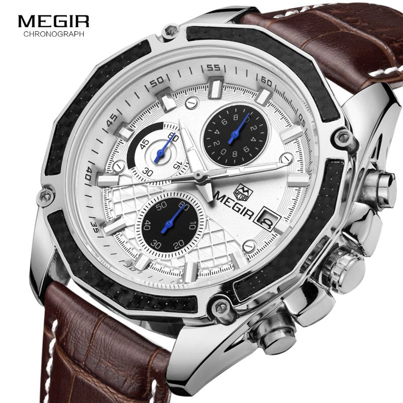 MEGIR quartz male watches Genuine Leather watches racing men Students game Run <font><b>Chronograph</b></font> Watch male glow hands for Man 2015G