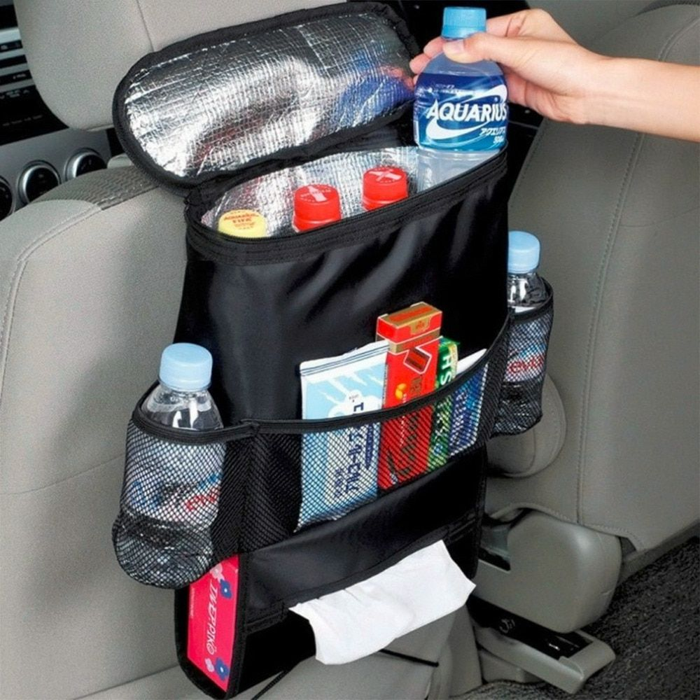 Car Breast Milk Storage Bag Seat Back Organizer Insulated Seat Back Drinks Holder Cooler Cool Wrap Bottle Bag with Mesh Pockets#