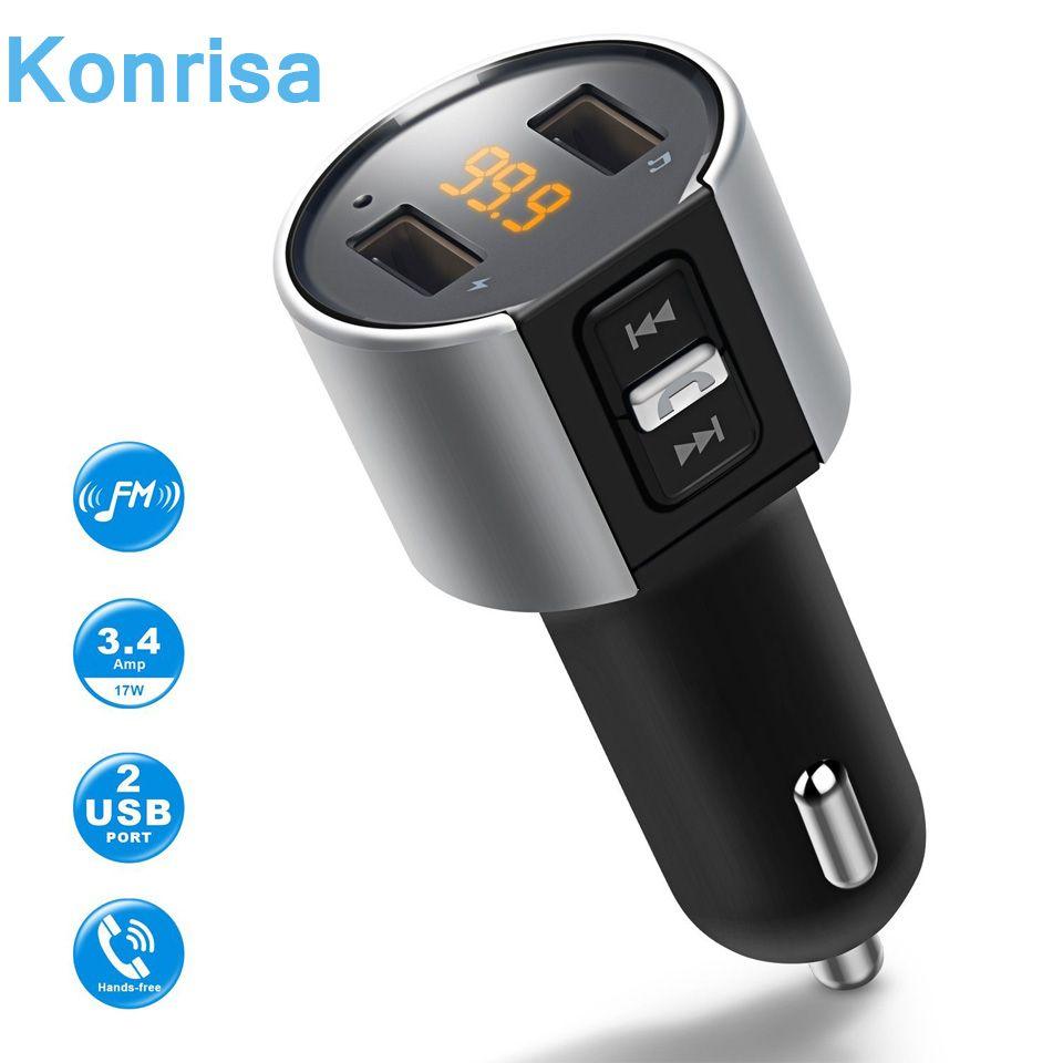 Bluetooth FM <font><b>Transmitter</b></font> Wireless In Car MP3 Player V4.2 Bluetooth Car Kit FM Radio <font><b>Transmitter</b></font> Modulator Dual USB Charger Port