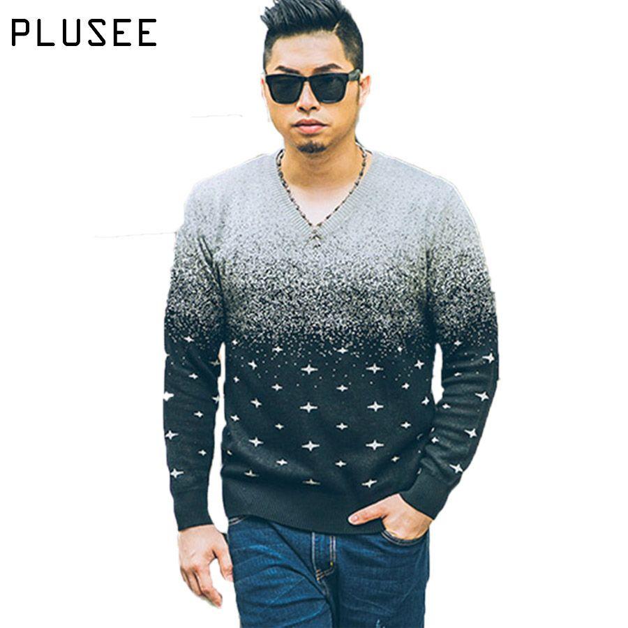 Plusee вязаный свитер Для мужчин в горошек пуловер Для мужчин v-образным вырезом осень 2017 г. плюс Размеры Лоскутная Свободные печати свитер Для ...