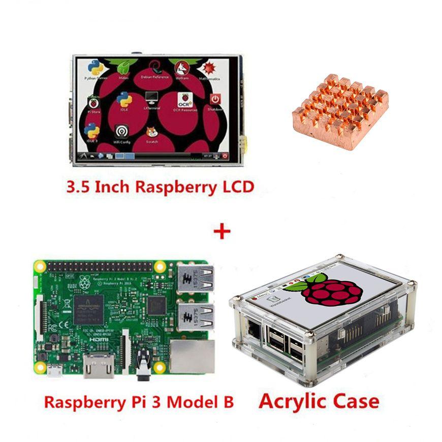 Raspberry Pi 3 modèle B Board + 3.5 TFT Raspberry Pi3 écran tactile LCD avec stylet + étui en acrylique + kit dissipateur de chaleur