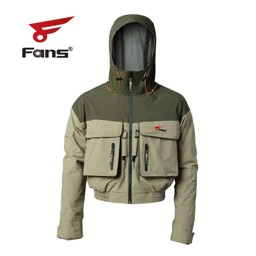 Men's Hooded Breathable Outdoor Windproof &Waterproof Fly Fishing Jacket with Fishing Lanyards Multi-Pockets for Fishing Hiking