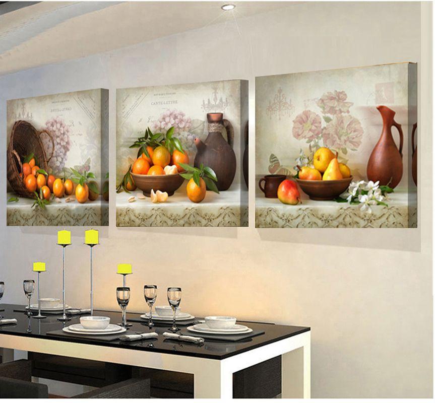 2018 Modulaire photos 3 Panneaux peintures pour la cuisine fruits mur décor moderne toile art mur photo pour salon descora