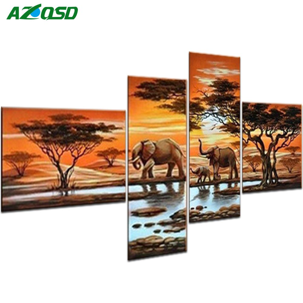 AZQSD Full Square Diamond Painting Elephant family Multi-picture <font><b>Combination</b></font> 5D Embroidery Cross Stitch Mosaic Decor