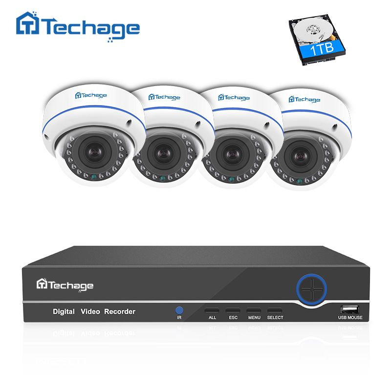 Techage 4CH 8CH NVR 1080P POE CCTV System 4PCS Vandalproof Anti-vandal Indoor Dome IP Camera Onvif Security Surveillance System