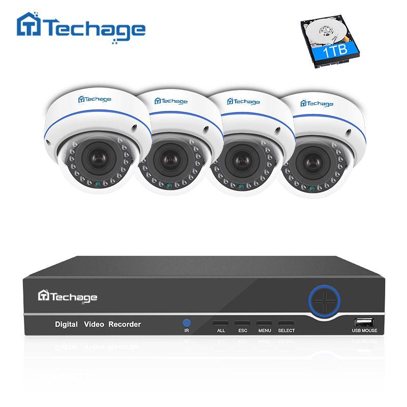 Techage 4CH 8CH NVR 1080P POE CCTV System 4PCS Vandalproof Anti-vandal Indoor Dome IP Camera Onvif Security Surveillance System