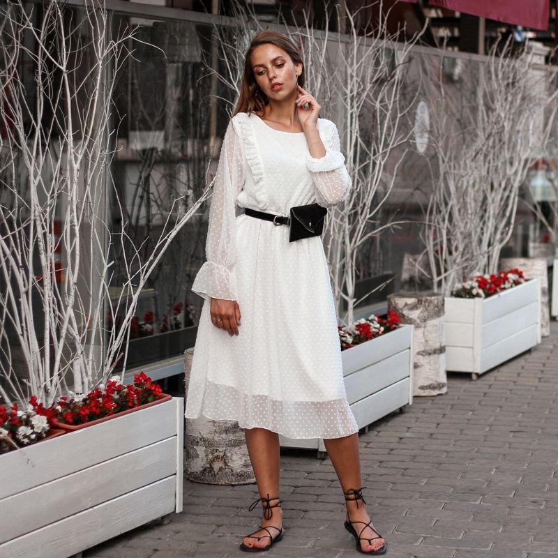 BGTEEVER volants à pois femmes robe en mousseline de soie taille élastique Flare manches femme Long Vestidos a-ligne robe blanche 2019