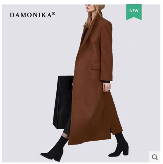 Frauen herbst/winter 2018 modische mantel neue doppelseitige kaschmir über-knie Hepburn art woll mantel frauen lange
