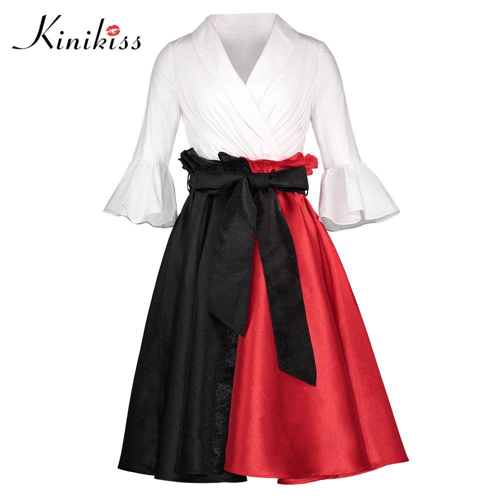 Kinikiss Women Clothing Vintage Dress Restore Ancient Spring Summer V neck Patchwork Black Red Black 50s 60s Retro Vintage Dress